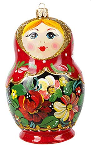 (Matryoshka Doll Russian Polish Glass Christmas Ornament Souvenir)