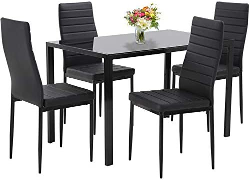Dining Table Set Dining Room Table Set 5-Piece Kitchen Dining Table Set with 4 Faux Leather Metal Frame Chairs Rectangular Modern for Small Spaces w/Glass Tabletop Kitchen Table and Chairs