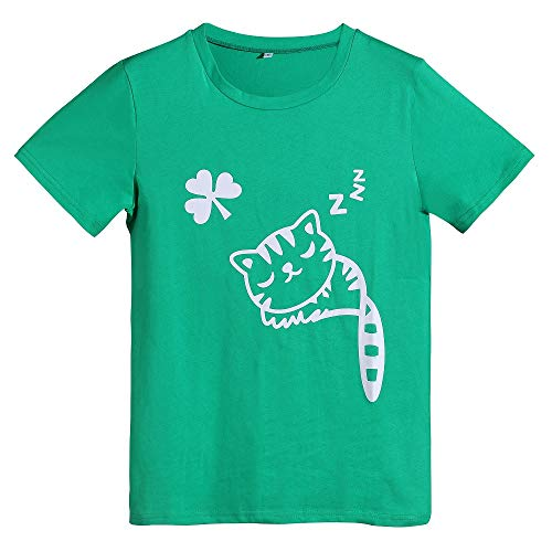 St.Patricks Day Shirt Women Girls Irish Shirt Funny Cat Graphic Shamrock Tee (Green,M)
