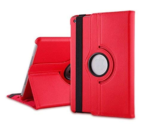 TGK 360 Degree Rotating Leather Smart Case Cover Stand Auto Sleep/Wake Function for Apple iPad Mini 2/3   Red