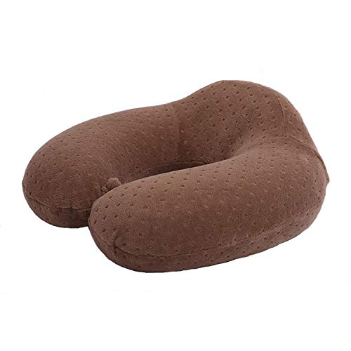 1pc Folding Neck Pillow Memory Foam Travel Pillow Neck Head Support Office Cushion Comfortable Pillow,Mocha
