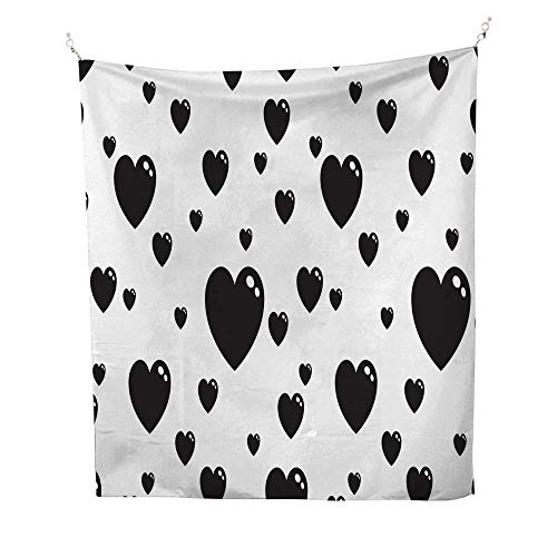 25 Home Decor Tapestries for Bedroom Black Heart icon Love Valentine Day Doodle Cartoon Vector Seamless Pattern Isolated Wallpaper Background Wall Tapestries for Bedroom 60W x 80L INCH