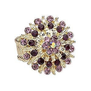 Multi Purple Flower Rhinestone Gold Pewter Stretch Ring (Size 8 & Up)