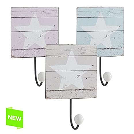 DCASA Percheros de Pared diseño Moderna Estrella (Set 3 percheros)