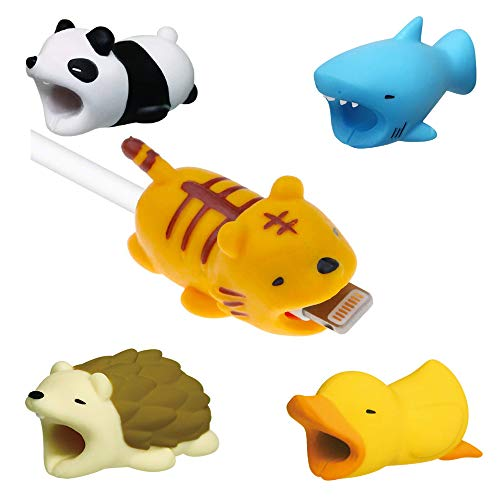 (Sicanal Cable Animals Bits , Sicanal Compatible iPhone Cable Protector 5PCS (Panda + Tiger + Hedgehog + Shark + Duck) Compatible for iPhone Cable Animals  Bits Cord Data Line Saver)