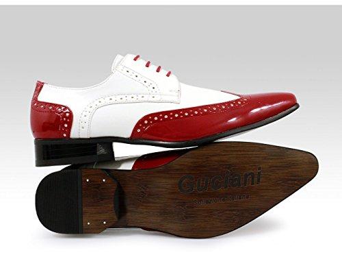New Marco Rosso Bianco Lucido Men Brogues Shoes Pelle Interno 4 Buchi Lacci