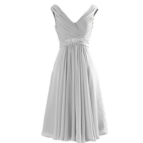 Lemai Chiffon V Neck Short Knee Length A Line Beaded Corset Prom Bridesmaid Dresses Silver US 12