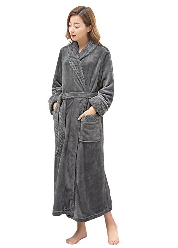 6ec5a27956 Hellomamma Long Bath Robe for Women Plush Soft Fleece Night Bathrobe  Dressing Gown