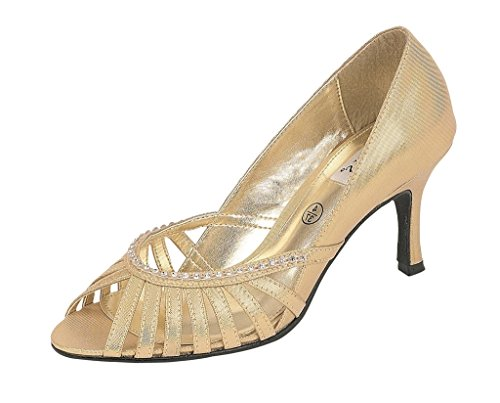Lexus Z054 Shanika Ladies fashion peep toe shoe with a diamonte trim on front of shoe Gold cEHJeQH