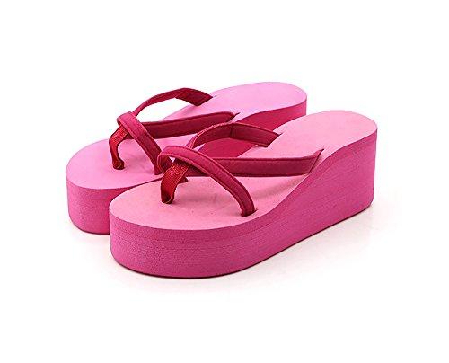 40 Tacones Tacón Rosa De Cuña De Pink Chanclas Alto Zapatillas De De Mujer Playa CxYqAEnwO