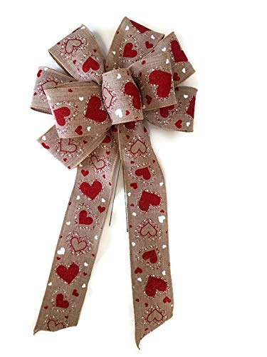 Large 10 Handmade Wired Red /& White Hearts Natural Linen Wired Wreath Bow