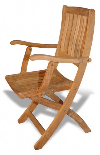 Great Teak Folding Chair With Arms   PAIR