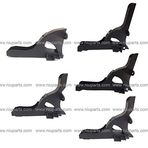 (5 Pieces Combo - Top and Bottom Cabin Fairing Mounting Brackets Black - Driver Side (Fit: Freightliner Cascadia 2008-2016 Truck))