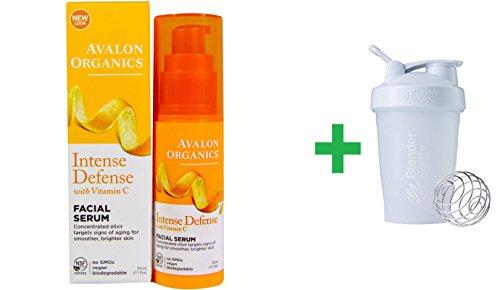 Avalon Organics, Intense Defense, With Vitamin C, Facial Serum, 1 fl oz (30 ml) + Sundesa, BlenderBottle, Classic With Loop, White, 20 oz