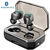 Muzili Wireless Headphones, Sport True Wireless Earbuds,Bluetooth 5.0, Deep Bass IPX5 Waterproof Wireless Earphone with Microphone, Noise-Cancelling,Portable 3000mAh Charging Box for iPhone,Android