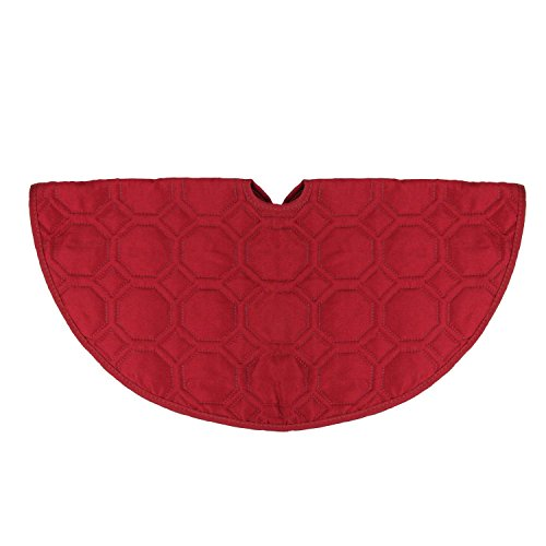"""Mini Christmas Tree Skirts (18"""" Solid Red Quilted Christmas Decorative Mini Tree Skirt)"""