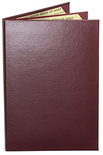 "Case of 5 Cascade Casebound Menu Covers #8042 Burgundy Triple Panel - 4-View - 8.5"" Wide x 14"" Tall - Waterfall Edge. Interior Album-Style Corners. Type MenuCoverMan in Amazon Search."