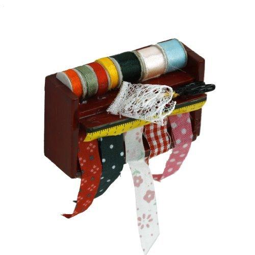 1/12 Dollhouse Miniature Decorative Sewing Ribbon Scissors Wooden Rack Shelf Anty-ni