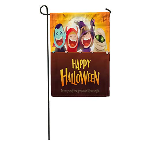 Semtomn Garden Flag Happy Halloween Party Group of Kids in Costumes Big Signboard Home Yard Decor Barnner Outdoor Stand 28x40 Inches Flag