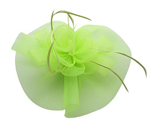 Fascinator Hair Clip Headband Feather Flower Pillbox Hat Cocktail Tea Party A Light Green