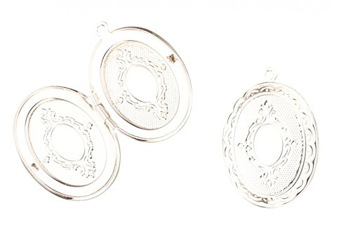 2 Pcs Oval Silver-Plated Locket Pendant Etched Patterned Silver (Etched Locket Pendant)