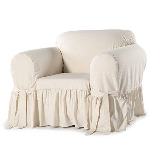 Single Piece Light Cream Colored Home Decor Slipcover For Armchair, Ruffled Pattern, Cotton Fabric Material Slipcover, For New Look To Livivng Room
