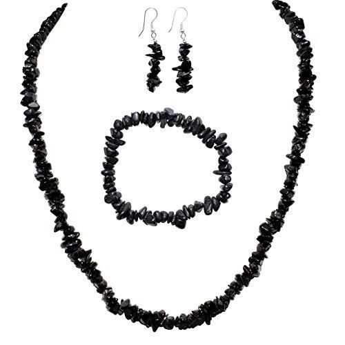 Himalayan Black Tourmaline Chip Jewelry Set (18