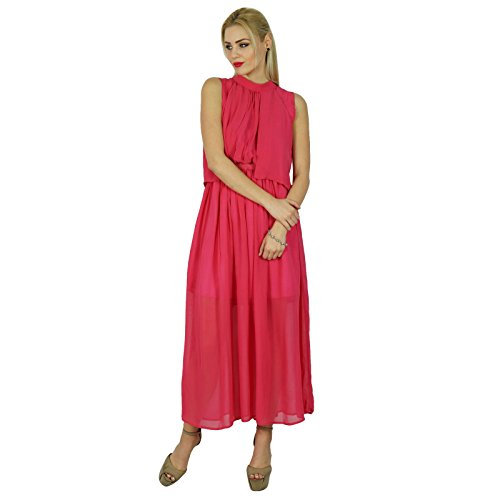 Pink Clothing Dress Georgette Chic Maxi Boho Half Lined Long Bimba Sheer Pink vx1n7w0P