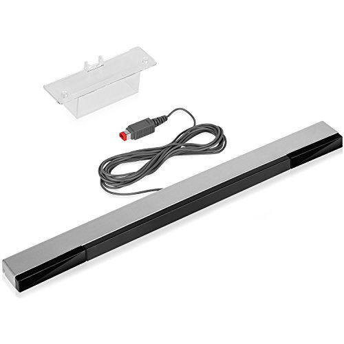 Fosmon Wired Infrared Sensor Bar for Nintendo Wii / Wii U (Silver/Black) 7.5ft Length Cable