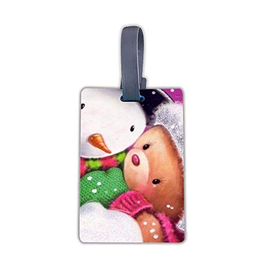 Suitcase Tags Travel ID Identification Labels Set For Bags (Snowman & Teddy Bear)