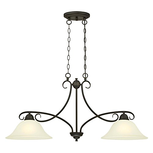 Westinghouse Lighting 6305900 Dunmore Two-Light Indoor Island Pendant, Oil Rubbed Bronze Finish with Frosted Glass,