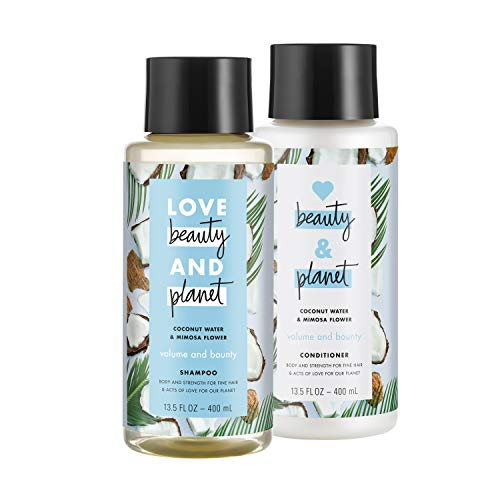 Love Beauty And Planet Volumizing Shampoo and Conditioner, Paraben Free, Silicone Free, and Vegan, Coconut Water & Mimosa Flower, 13.5 oz, 2 count (Best All Natural Beauty Products)