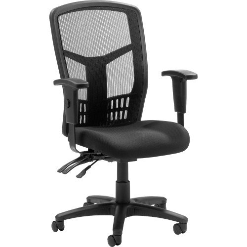 Lorell High-Back Chair Mesh Black Fabric Seat from Lorell