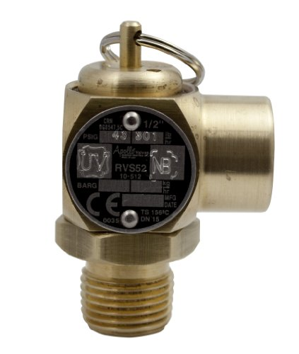 (Apollo Valve 10-512 Series Brass Safety Relief Valve, ASME Steam, 43 psi Set Pressure, 1/2