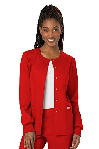 (Cherokee Women's Snap Front Warm-up Jacket, Red, Medium)