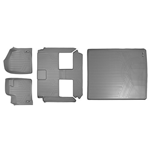 SMARTLINER Floor Mats 3 Rows and Cargo Liner Behind 2nd Row Set Grey for 2008-2018 Caravan / Town & Country (Stow'n Go Only) ()