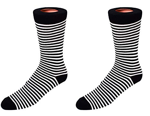 (Men's Socks (Mini Striped-Black/White)-1568-B)