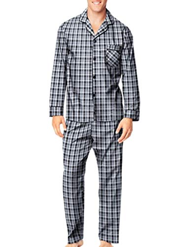 Hanes Mens Woven Pajamas (X-Large, Grey Blue ()