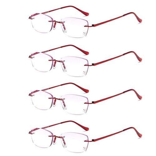 HAOHAOWU Frameless Reading Glasses, 4 Pack Comfortable Reading Glasses, Ladies Curved Anti-Slip Mirror Legs, Masonry Trim -