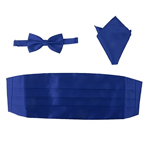 OULII Men Satin Bow Tie Cummerbund Handkerchief Set 3pcs (Royal Blue) Royal Blue Cummerbund