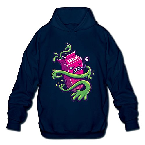 Huangyustore Cartoon Poisonous Green Milk Funny DesignMen's Long Sleeve Cotton Pullover Hoodie Sweatshirts (Milk Vine Glass)