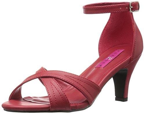 Pleaser Pink Label Women Div435/Rpu Dress Sandal Red Faux Leather