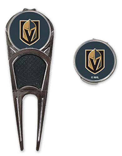 NHL Las Vegas Golden Knights Golf Divot Tool with Ball Mark and Hat Clip with Ball ()