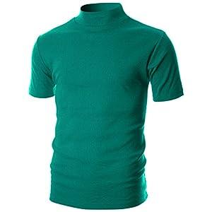 Ohoo Mens Slim Fit Soft Cotton Short Sleeve Pullover Lightweight Turtleneck Warm Inside