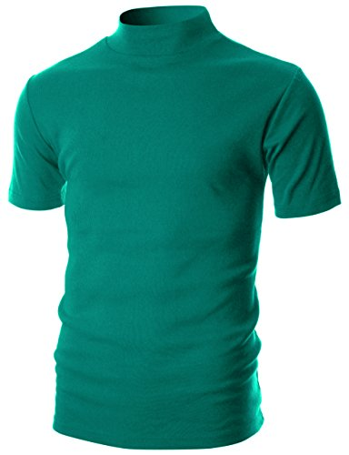 OHOO Mens Slim Fit Flice Short Sleeve Pullover Lightweight Mockneck/DCT105-TURQUOISE-L