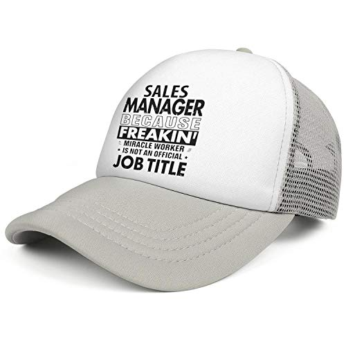 WJINX Sales Manager Because Freakin' Miracle Worker is Not an Official Job Title Mesh Baseball Hat Adjustable Sun Hat Unisex -