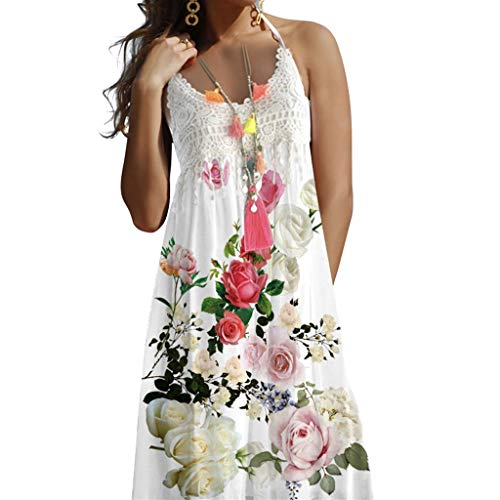 Casual Floral Dress for Women, Huazi2 Vintage Boho Summer Lace Sleeveless Flowy Beach Dress White
