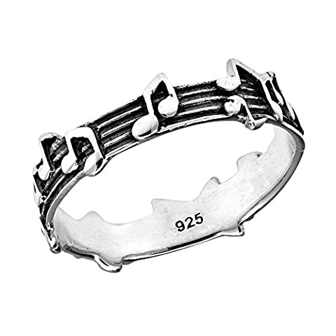 Whimsical Melody Musical Notes .925 Sterling Silver Band Ring (Elegant Music Rings)