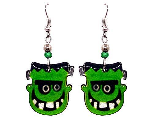 Spooky Halloween Frankenstein Face Dangle Earrings (Green/Blk/Wh) ()