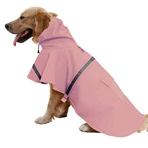 Mikayoo Large Dog Raincoat Ajustable Pet Waterproof Clothes Lightweight Rain Jacket Poncho Hoodies with Strip Reflective(Pink,L)
